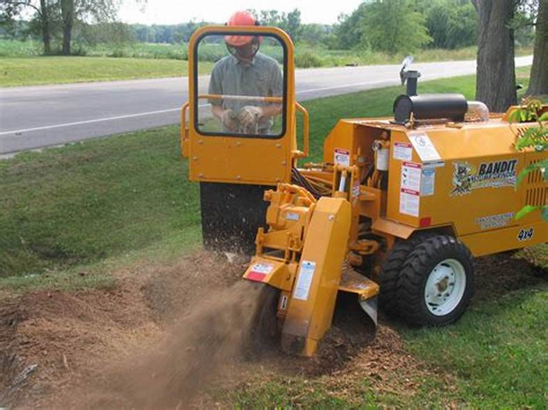 Picture of our stump grinding machinery being used to eliminate a stump for a customer in Brockton, MA